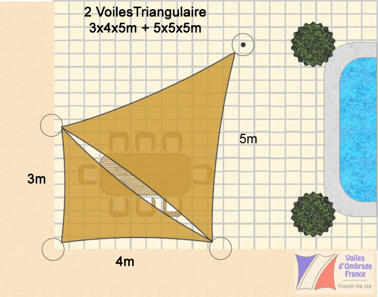 Voile d ombrage triangle rectangle - Voile d ombrage triangulaire 5m ...