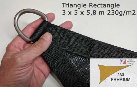 Voile d'Ombrage Triangle Rectangle 3x5x5,8m Qualité Premium en 230g/m2