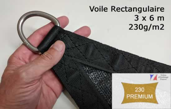 Voile d'Ombrage 3x6m Rectangle Qualité Premium en 230g/m2
